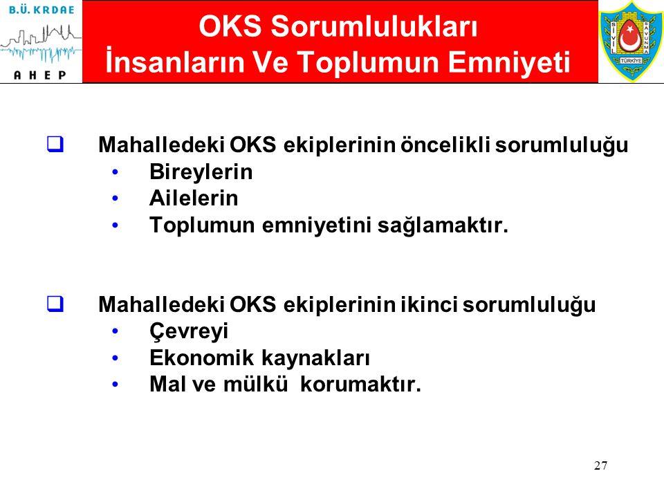 26 Olay Kumanda Sistemi (OKS) Mahallede  Mahallede OKS'nin amacı; Etkili liderlik sağlamak, Müdahalenin verimliliğini arttırmak ve Müdahalecilerin em