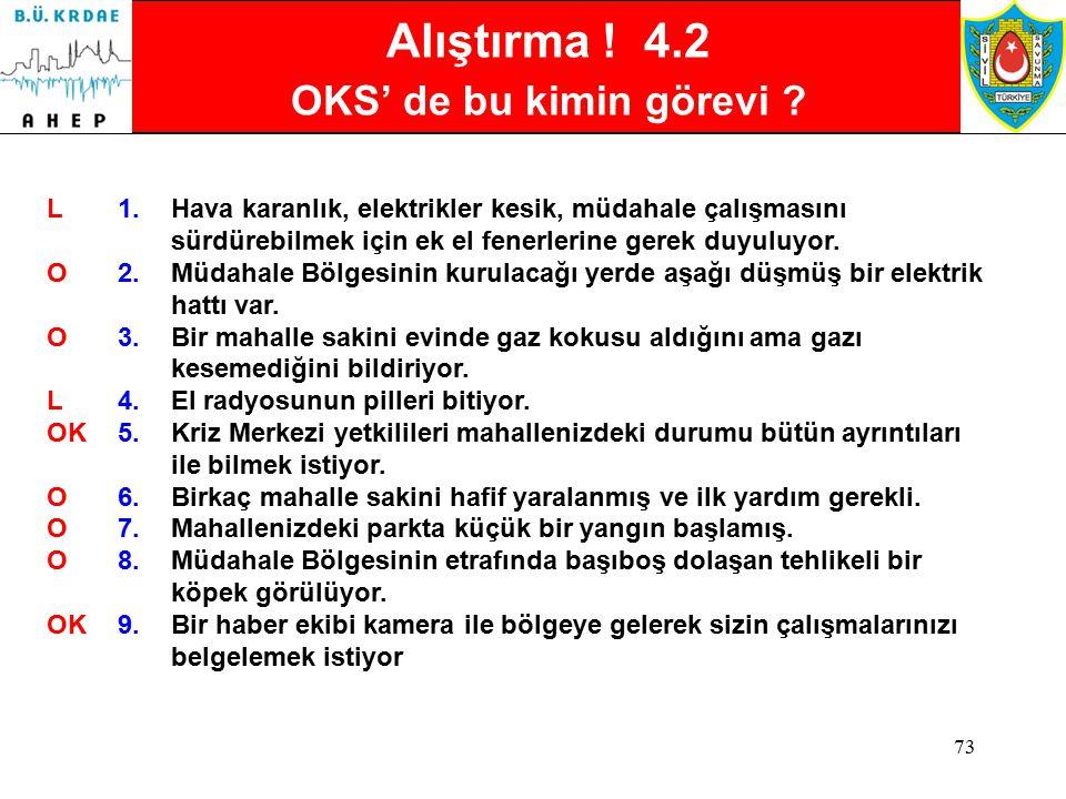 72 Alıştırma ! 4.2 OKS bu kimin görevi ?  3 ana bölüme ilişkin bilgileri kullanarak, listedeki durumların hangi bölümün ya da hangi sorumlunun ana gö