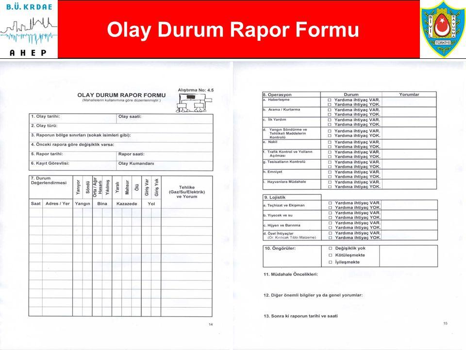 81  Olay Durum Rapor Formu  Kumandanın Afete Genel Bakış Formu  Ekip Kontrol Formu  Mesaj Formu  Personel Kayıt Formu  Malzeme Formu  Tıbbi Müd