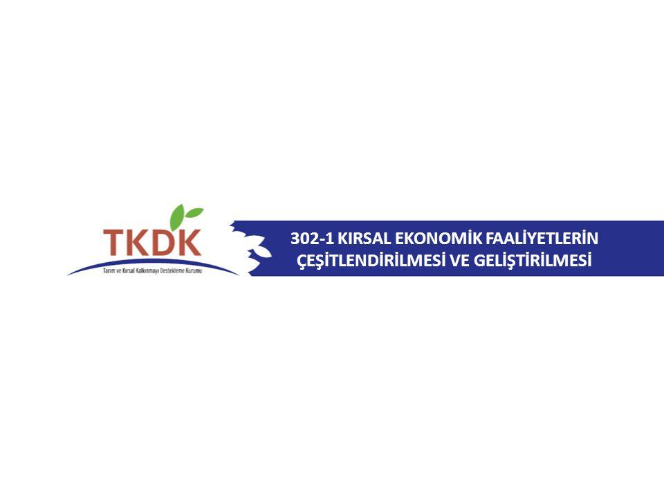 302-1 Kırsal Ekonomik Faaliyetlerin Çeşitlendirilmesi ve Geliştirilmesi UYGUN YATIRIMLAR Tıbbi ve aromatik özelliği olan bitkilerin depolanması/havalandırılması, kurutulması, işlenmesi ve pazarlanması için tesis inşası veya modernizasyonu Tıbbi ve aromatik özelliği olan bitki üretimi için: Yapım işi