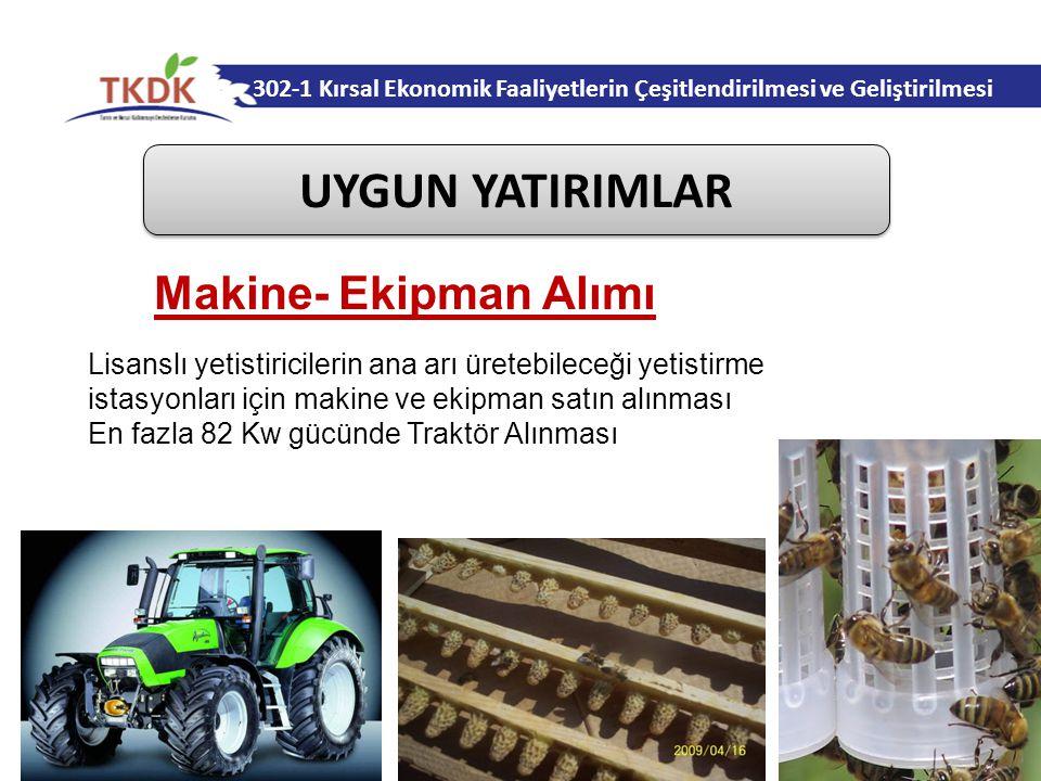 302-1 Kırsal Ekonomik Faaliyetlerin Çeşitlendirilmesi ve Geliştirilmesi UYGUN YATIRIMLAR Lisanslı yetistiricilerin ana arı üretebileceği yetistirme istasyonları için makine ve ekipman satın alınması En fazla 82 Kw gücünde Traktör Alınması Makine- Ekipman Alımı