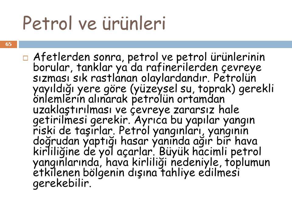 Petrol ve ürünleri 65  Afetlerden sonra, petrol ve petrol ürünlerinin borular, tanklar ya da rafinerilerden çevreye sızması sık rastlanan olaylardand