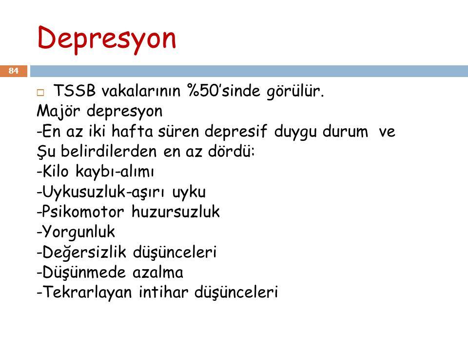 Depresyon 84  TSSB vakalarının %50'sinde görülür. Majör depresyon -En az iki hafta süren depresif duygu durum ve Şu belirdilerden en az dördü: -Kilo