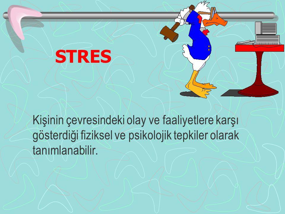 STRES Kişinin çevresindeki olay ve faaliyetlere karşı gösterdiği fiziksel ve psikolojik tepkiler olarak tanımlanabilir.