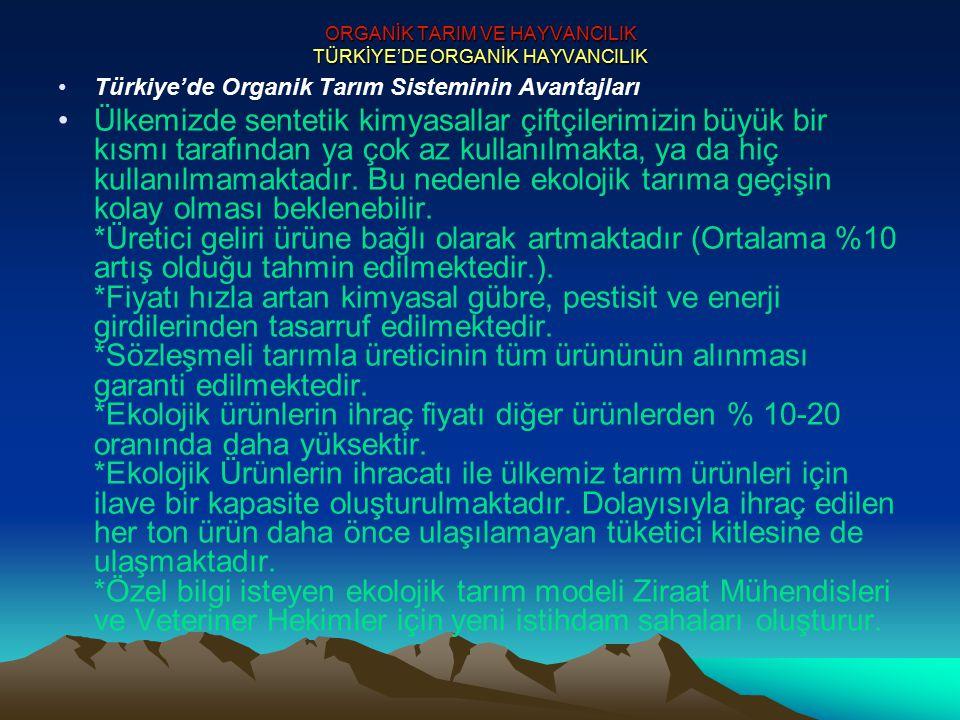 ORGANİK TARIM VE HAYVANCILIK TÜRKİYE'DE ORGANİK HAYVANCILIK Türkiye'de Organik Tarım Sisteminin Avantajları Ülkemizde sentetik kimyasallar çiftçilerim