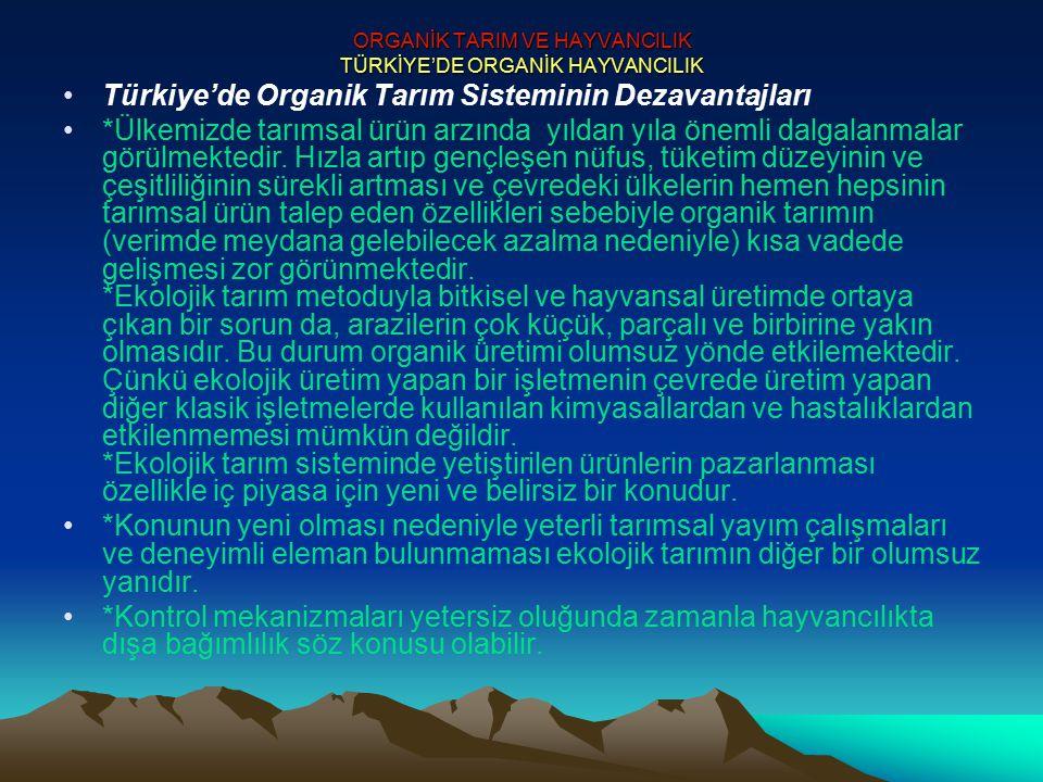ORGANİK TARIM VE HAYVANCILIK TÜRKİYE'DE ORGANİK HAYVANCILIK Türkiye'de Organik Tarım Sisteminin Dezavantajları *Ülkemizde tarımsal ürün arzında yıldan