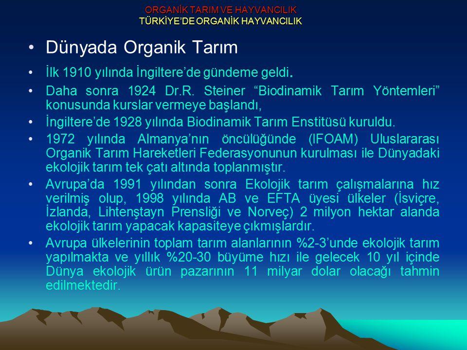 ORGANİK TARIM VE HAYVANCILIK TÜRKİYE'DE ORGANİK HAYVANCILIK Türkiye'de Organik (Ekolojik) Tarım ve Hayvancılık Avrupa ülkelerinin Türkiye'den ekolojik ürünler talebinde bulunmaya başladığı 1984-1985 yıllarında ekolojik=biyolojik tarım uygulamaları başlatılmıştır.