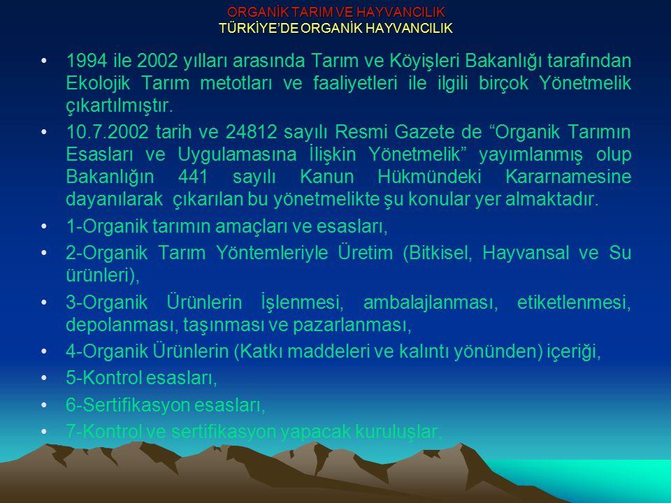 ORGANİK TARIM VE HAYVANCILIK TÜRKİYE'DE ORGANİK HAYVANCILIK 1994 ile 2002 yılları arasında Tarım ve Köyişleri Bakanlığı tarafından Ekolojik Tarım meto