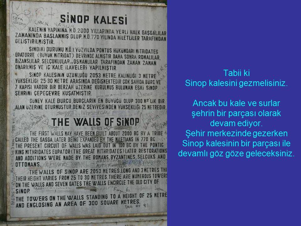 Tabii ki Sinop kalesini gezmelisiniz. Ancak bu kale ve surlar şehrin bir parçası olarak devam ediyor. Şehir merkezinde gezerken Sinop kalesinin bir pa
