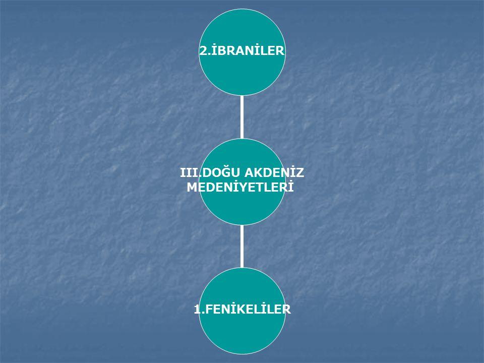 III.DOĞU AKDENİZ MEDENİYETLERİ 2.İBRANİLER1.FENİKELİLER