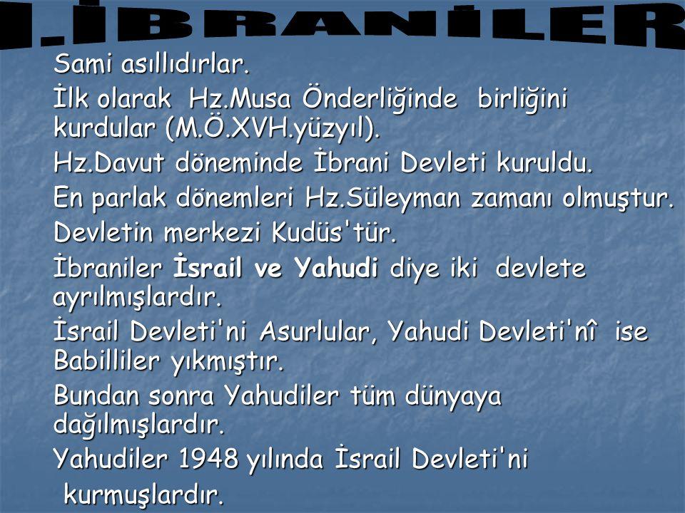 Sami asıllıdırlar. İlk olarak Hz.Musa Önderliğinde birliğini kurdular (M.Ö.XVH.yüzyıl). Hz.Davut döneminde İbrani Devleti kuruldu. En parlak dönemleri