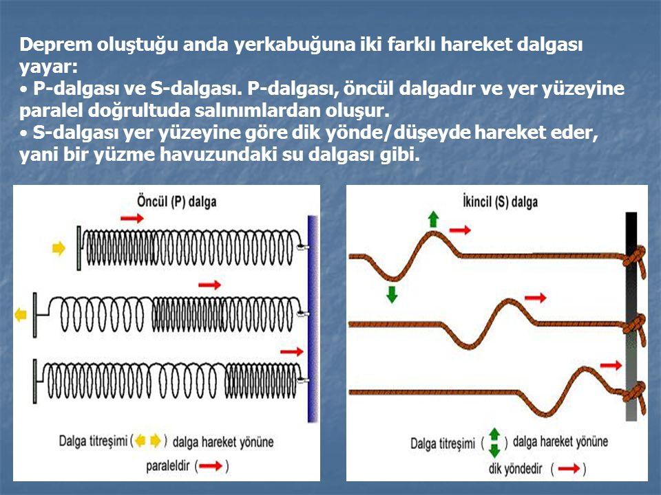 Deprem oluştuğu anda yerkabuğuna iki farklı hareket dalgası yayar: P-dalgası ve S-dalgası. P-dalgası, öncül dalgadır ve yer yüzeyine paralel doğrultud