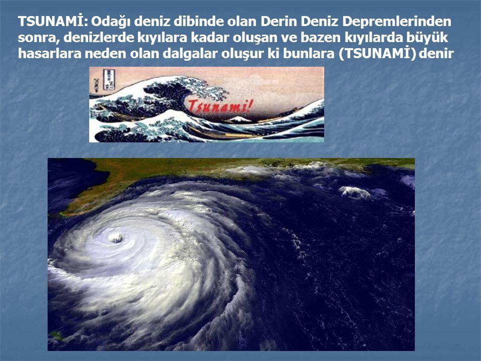 TSUNAMİ: Odağı deniz dibinde olan Derin Deniz Depremlerinden sonra, denizlerde kıyılara kadar oluşan ve bazen kıyılarda büyük hasarlara neden olan dal