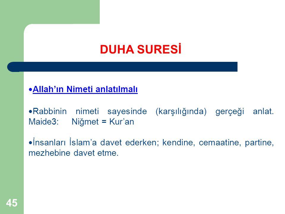 45  Allah'ın Nimeti anlatılmalı  Rabbinin nimeti sayesinde (karşılığında) gerçeği anlat. Maide3: Niğmet = Kur'an  İnsanları İslam'a davet ederken;