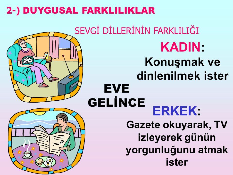 KADIN: Konuşmak ve dinlenilmek ister EVE GELİNCE ERKEK: Gazete okuyarak, TV izleyerek günün yorgunluğunu atmak ister 2-) DUYGUSAL FARKLILIKLAR SEVGİ DİLLERİNİN FARKLILIĞI