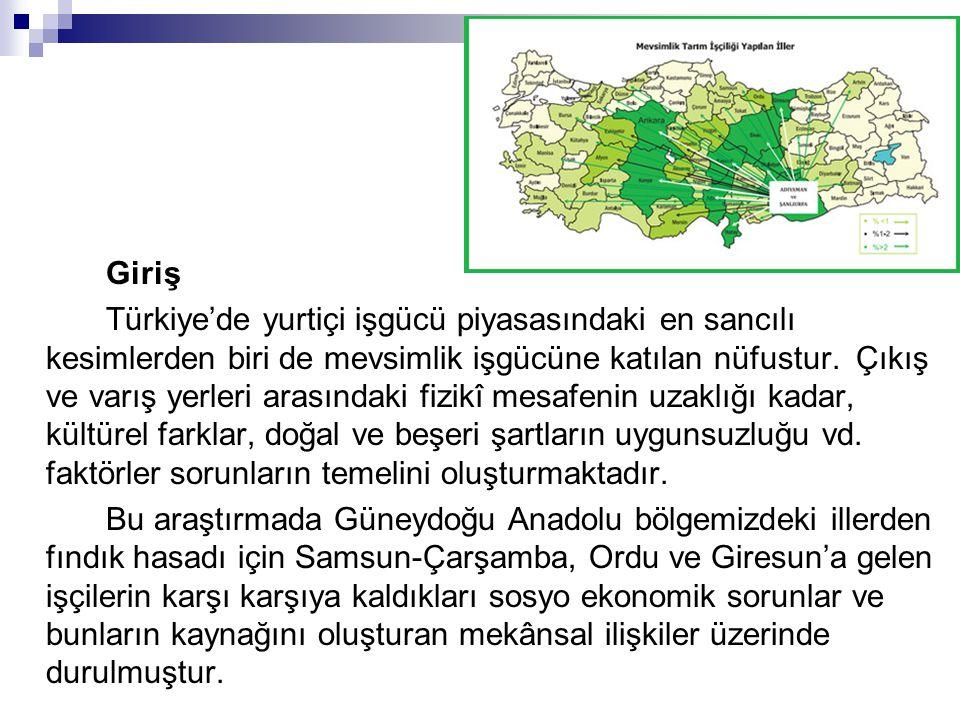 Giriş Türkiye'de yurtiçi işgücü piyasasındaki en sancılı kesimlerden biri de mevsimlik işgücüne katılan nüfustur. Çıkış ve varış yerleri arasındaki fi