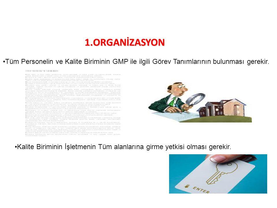 1.ORGANİZASYON Tüm Personelin ve Kalite Biriminin GMP ile ilgili Görev Tanımlarının bulunması gerekir. Kalite Biriminin İşletmenin Tüm alanlarına girm