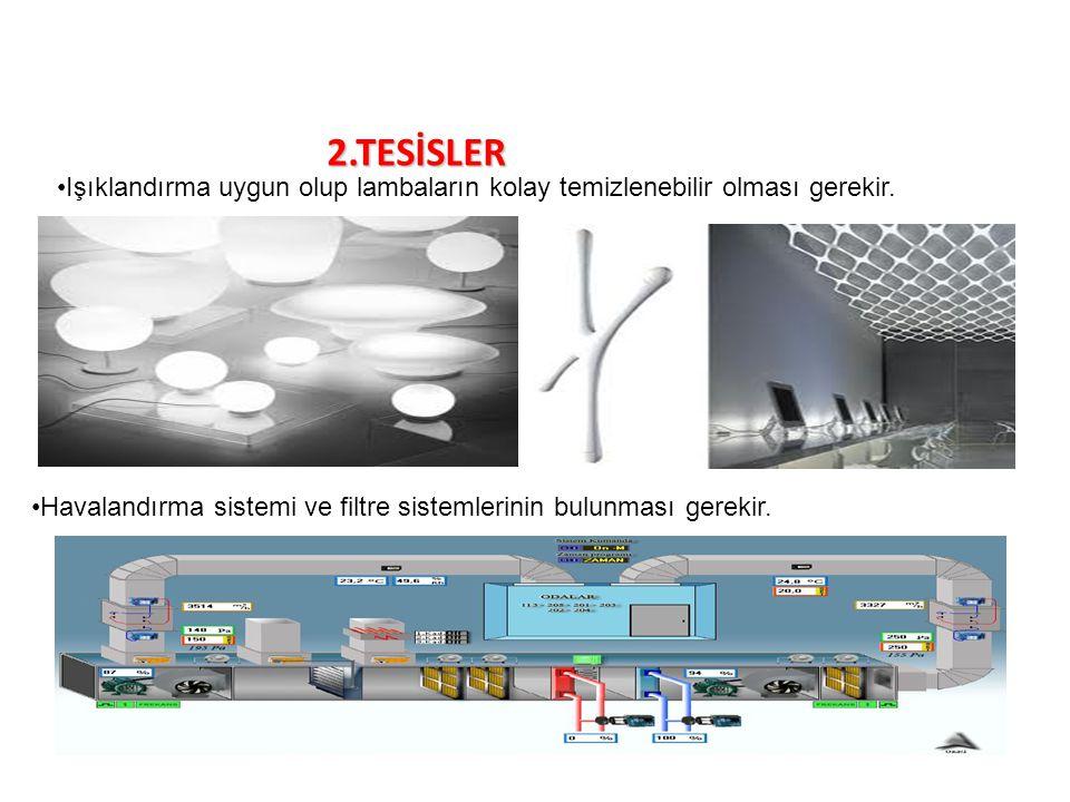 2.TESİSLER Işıklandırma uygun olup lambaların kolay temizlenebilir olması gerekir. Havalandırma sistemi ve filtre sistemlerinin bulunması gerekir.