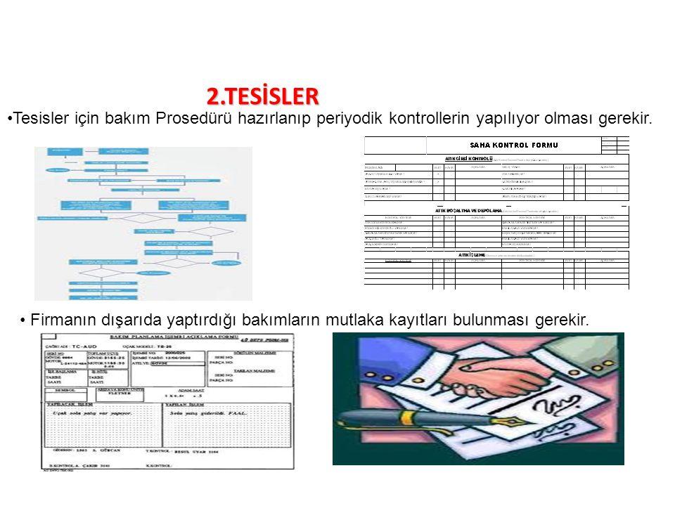 2.TESİSLER Tesisler için bakım Prosedürü hazırlanıp periyodik kontrollerin yapılıyor olması gerekir. Firmanın dışarıda yaptırdığı bakımların mutlaka k