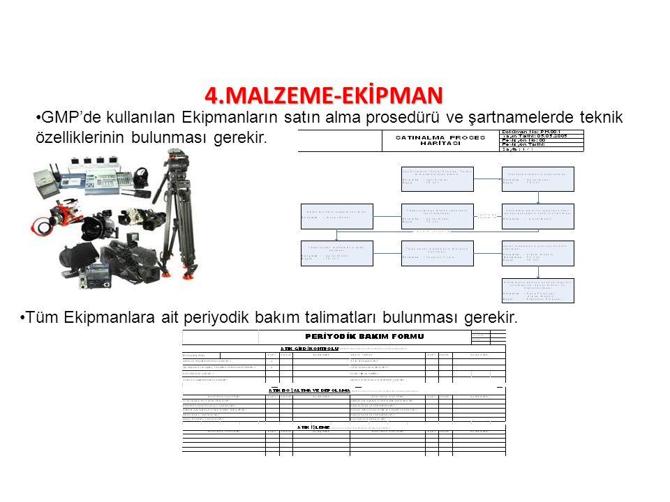4.MALZEME-EKİPMAN GMP'de kullanılan Ekipmanların satın alma prosedürü ve şartnamelerde teknik özelliklerinin bulunması gerekir. Tüm Ekipmanlara ait pe