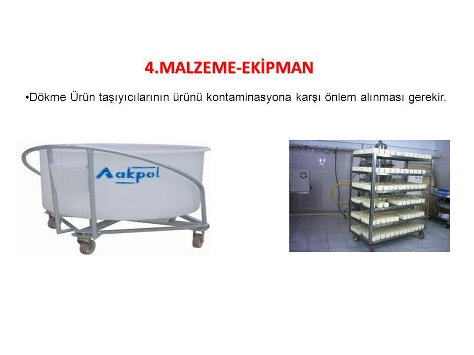 4.MALZEME-EKİPMAN Dökme Ürün taşıyıcılarının ürünü kontaminasyona karşı önlem alınması gerekir.