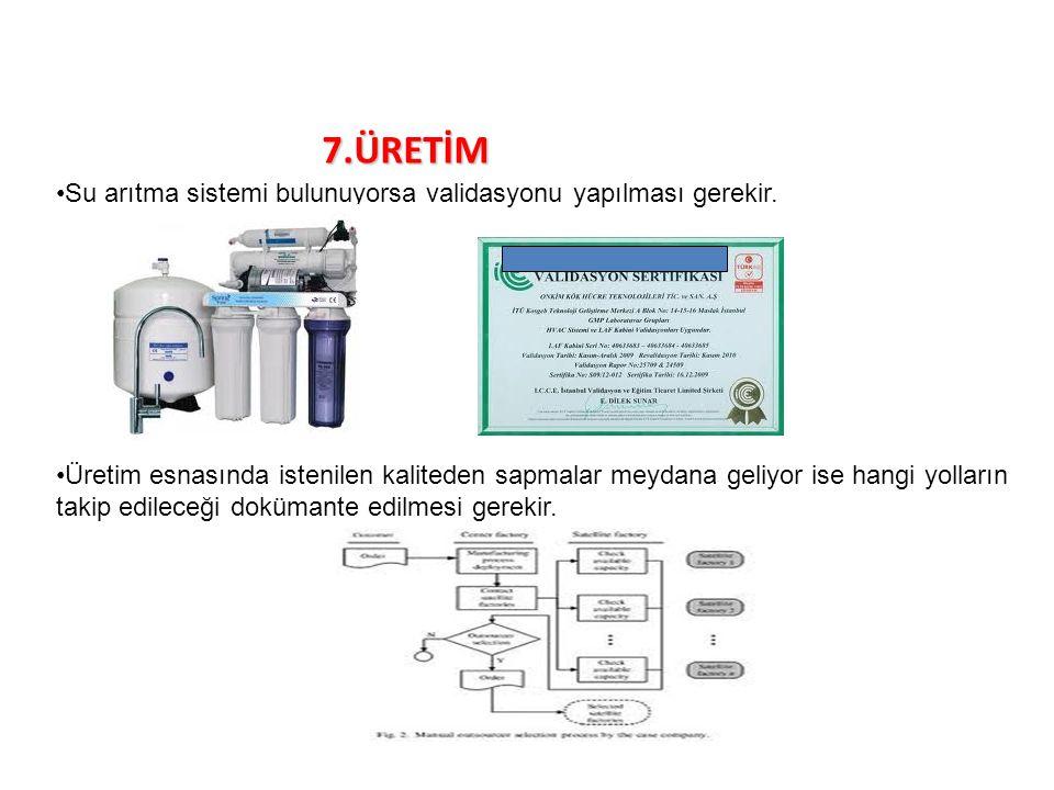 7.ÜRETİM Su arıtma sistemi bulunuyorsa validasyonu yapılması gerekir. Üretim esnasında istenilen kaliteden sapmalar meydana geliyor ise hangi yolların