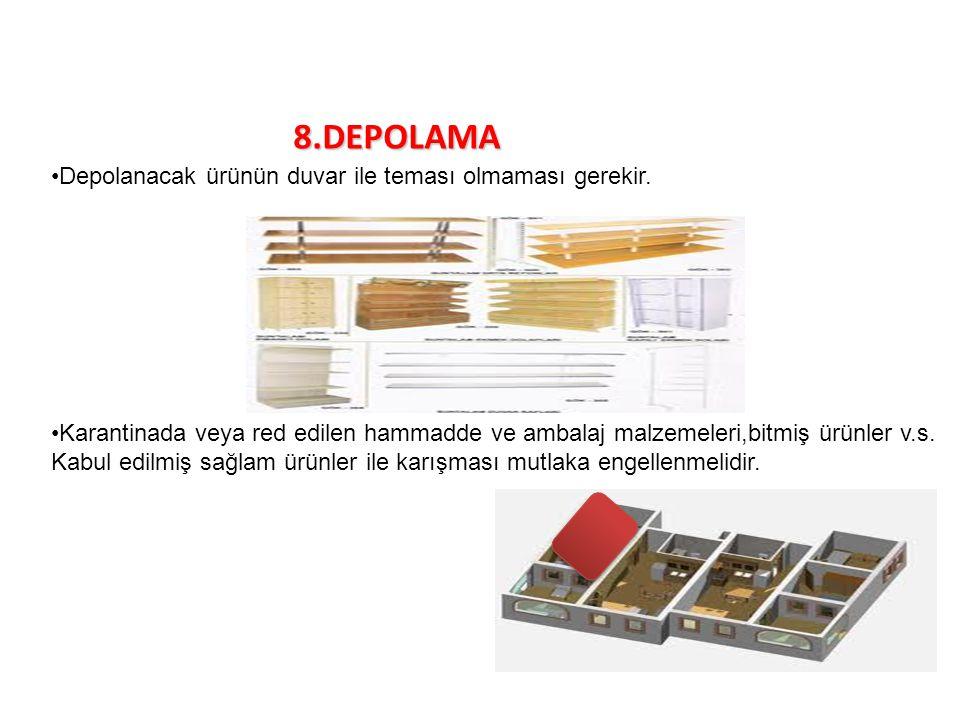 8.DEPOLAMA Depolanacak ürünün duvar ile teması olmaması gerekir. Karantinada veya red edilen hammadde ve ambalaj malzemeleri,bitmiş ürünler v.s. Kabul