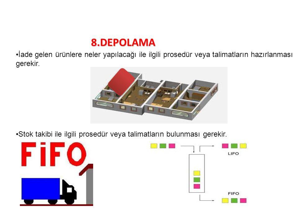 8.DEPOLAMA İade gelen ürünlere neler yapılacağı ile ilgili prosedür veya talimatların hazırlanması gerekir. Stok takibi ile ilgili prosedür veya talim