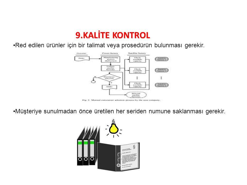 9.KALİTE KONTROL Red edilen ürünler için bir talimat veya prosedürün bulunması gerekir. Müşteriye sunulmadan önce üretilen her seriden numune saklanma