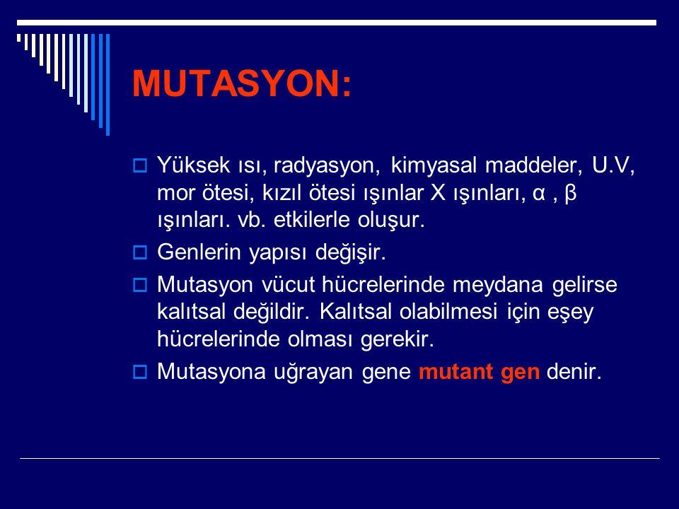 MUTASYON:  Yüksek ısı, radyasyon, kimyasal maddeler, U.V, mor ötesi, kızıl ötesi ışınlar X ışınları, α, β ışınları. vb. etkilerle oluşur.  Genlerin