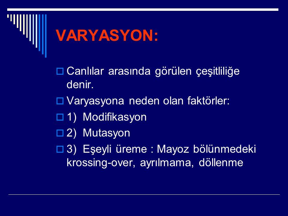 VARYASYON:  Canlılar arasında görülen çeşitliliğe denir.  Varyasyona neden olan faktörler:  1) Modifikasyon  2) Mutasyon  3) Eşeyli üreme : Mayoz