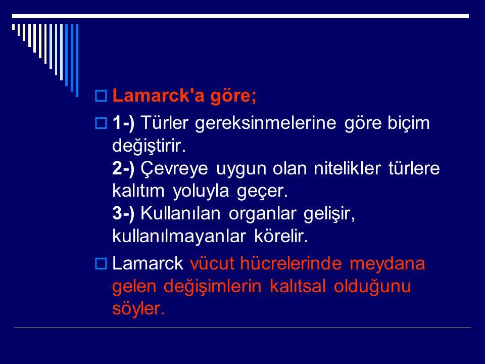  Lamarck'a göre;  1-) Türler gereksinmelerine göre biçim değiştirir. 2-) Çevreye uygun olan nitelikler türlere kalıtım yoluyla geçer. 3-) Kullanılan