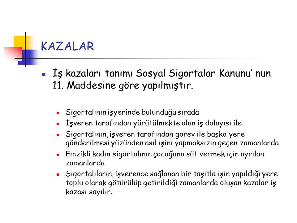 KAZALAR İş kazaları tanımı Sosyal Sigortalar Kanunu' nun 11.