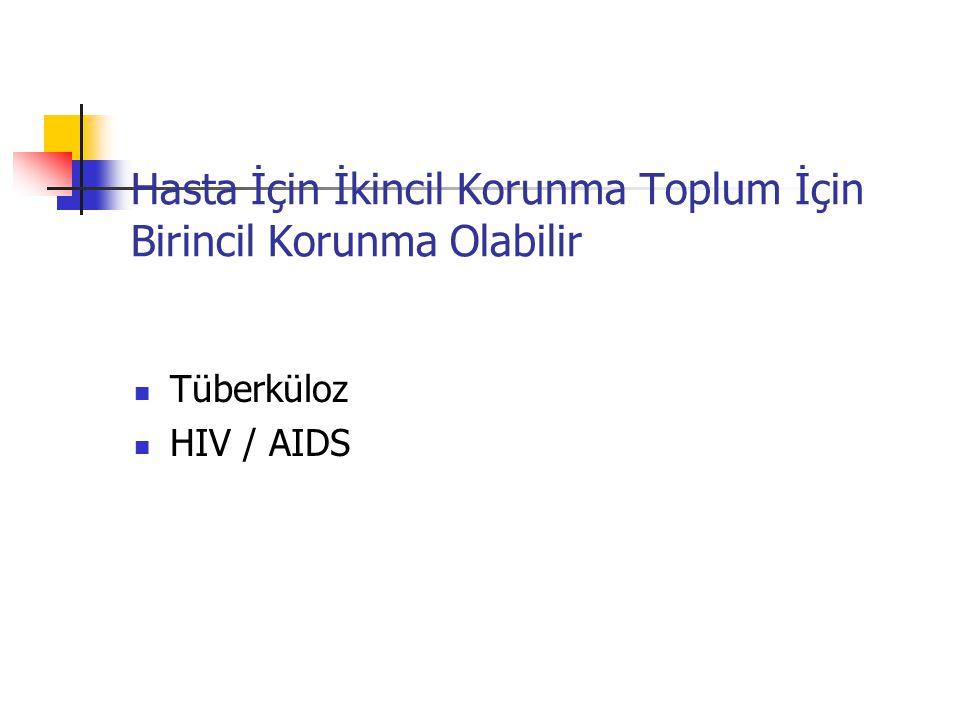 Hasta İçin İkincil Korunma Toplum İçin Birincil Korunma Olabilir Tüberküloz HIV / AIDS