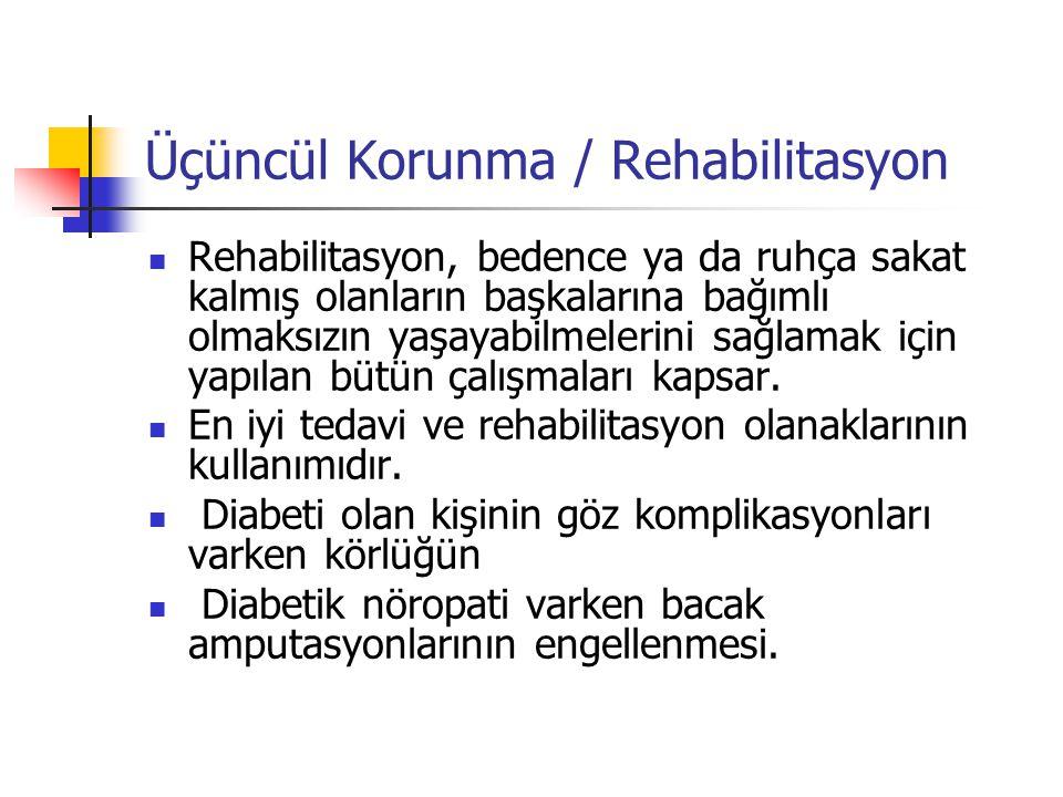 Üçüncül Korunma / Rehabilitasyon Rehabilitasyon, bedence ya da ruhça sakat kalmış olanların başkalarına bağımlı olmaksızın yaşayabilmelerini sağlamak için yapılan bütün çalışmaları kapsar.