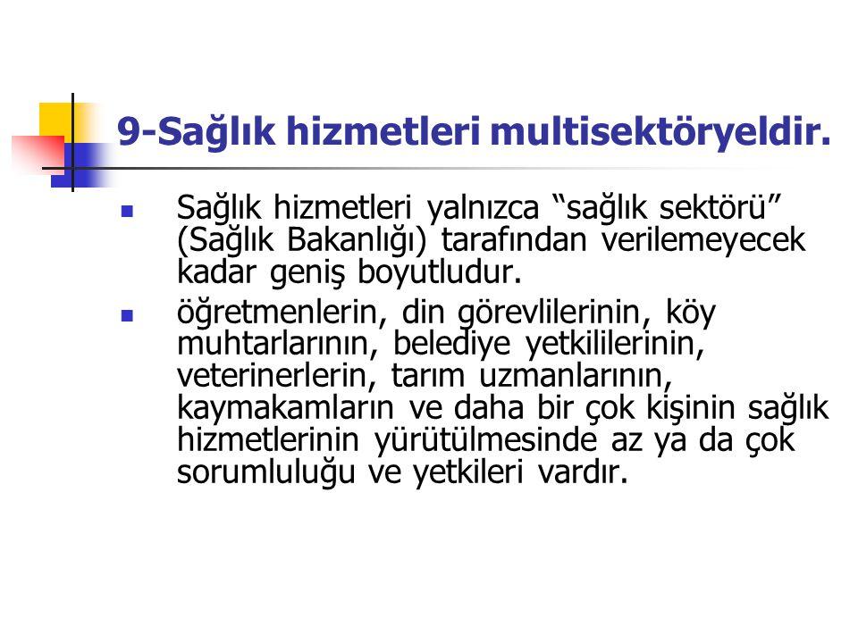 9-Sağlık hizmetleri multisektöryeldir.