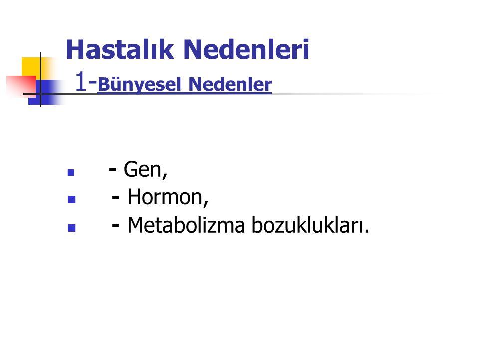 Hastalık Nedenleri 1- Bünyesel Nedenler - Gen, - Hormon, - Metabolizma bozuklukları.