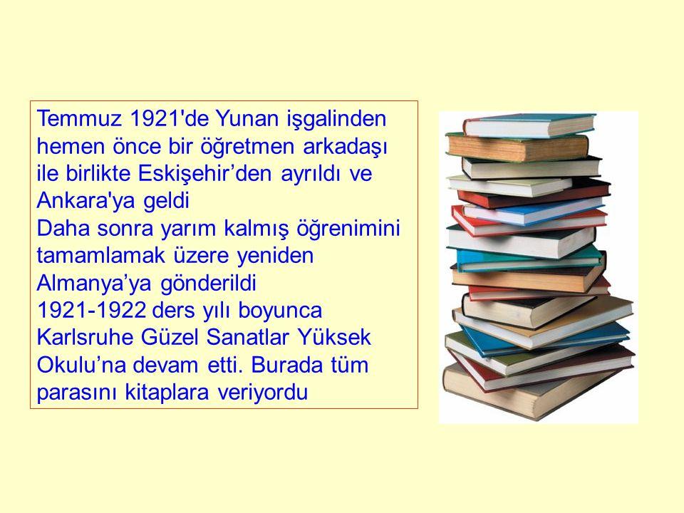 Temmuz 1921'de Yunan işgalinden hemen önce bir öğretmen arkadaşı ile birlikte Eskişehir'den ayrıldı ve Ankara'ya geldi Daha sonra yarım kalmış öğrenim
