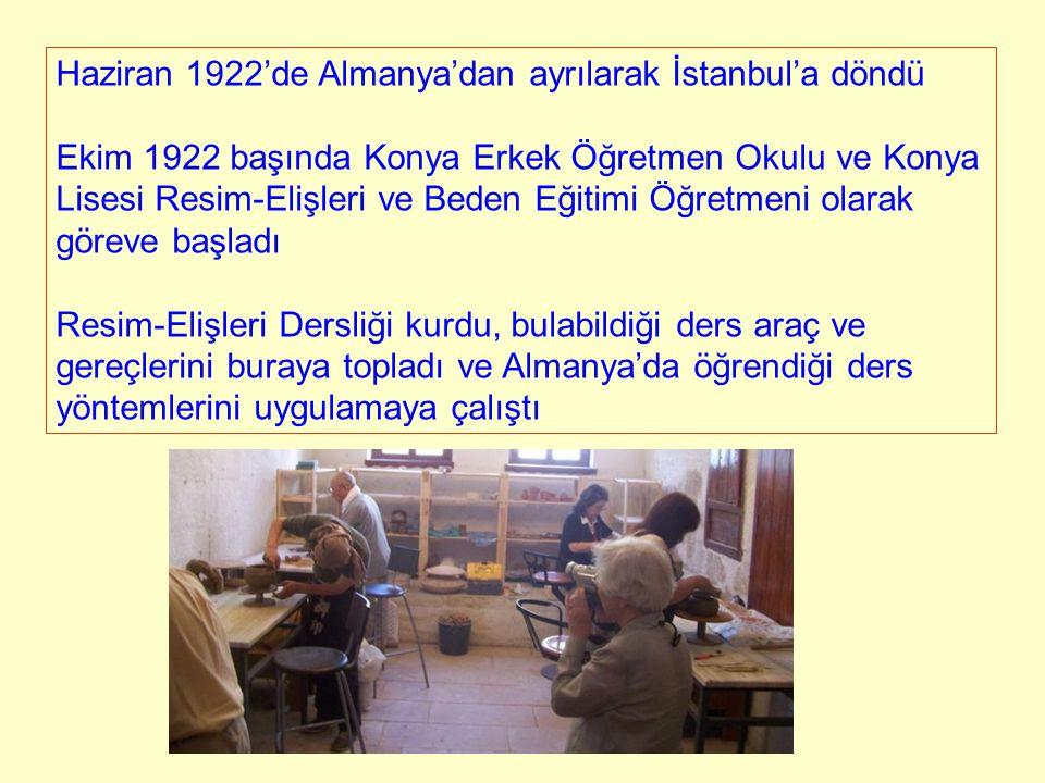 Haziran 1922'de Almanya'dan ayrılarak İstanbul'a döndü Ekim 1922 başında Konya Erkek Öğretmen Okulu ve Konya Lisesi Resim-Elişleri ve Beden Eğitimi Öğ