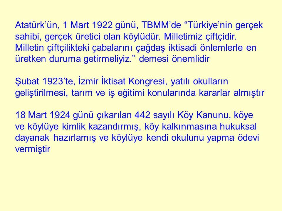 """Atatürk'ün, 1 Mart 1922 günü, TBMM'de """"Türkiye'nin gerçek sahibi, gerçek üretici olan köylüdür. Milletimiz çiftçidir. Milletin çiftçilikteki çabaların"""