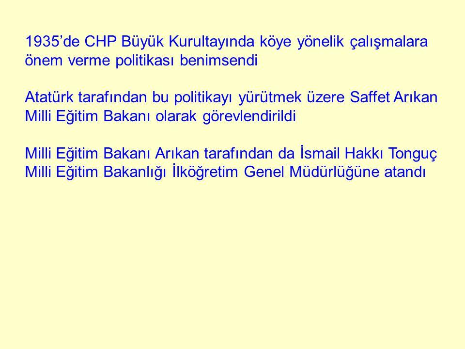 1935'de CHP Büyük Kurultayında köye yönelik çalışmalara önem verme politikası benimsendi Atatürk tarafından bu politikayı yürütmek üzere Saffet Arıkan