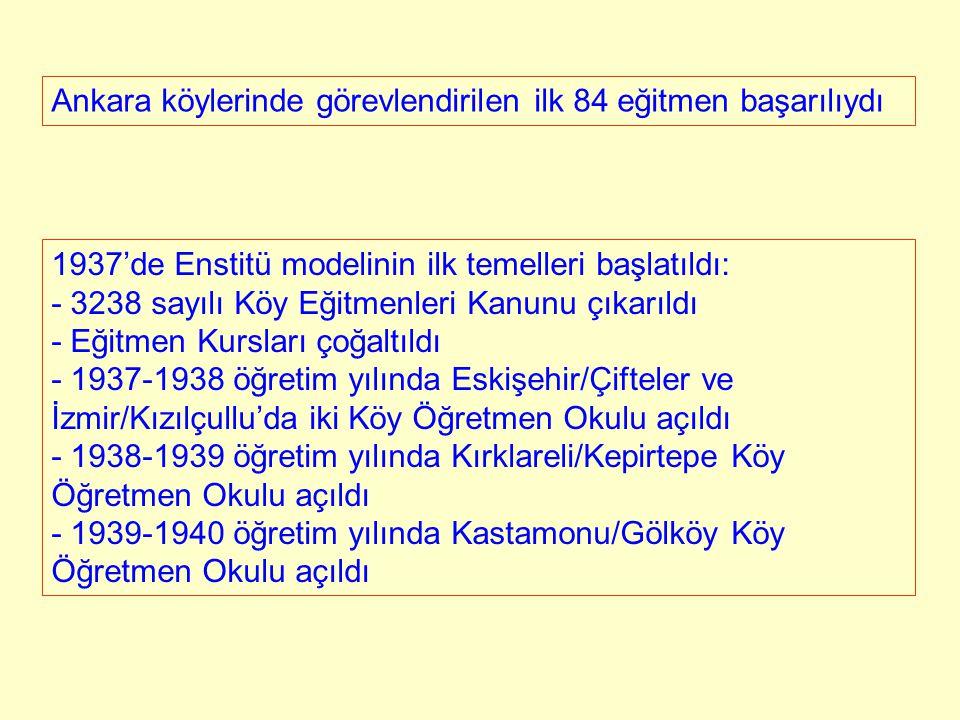 Ankara köylerinde görevlendirilen ilk 84 eğitmen başarılıydı 1937'de Enstitü modelinin ilk temelleri başlatıldı: - 3238 sayılı Köy Eğitmenleri Kanunu