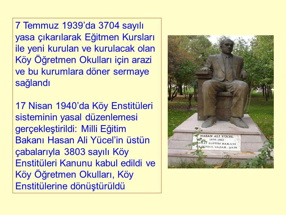 7 Temmuz 1939'da 3704 sayılı yasa çıkarılarak Eğitmen Kursları ile yeni kurulan ve kurulacak olan Köy Öğretmen Okulları için arazi ve bu kurumlara dön