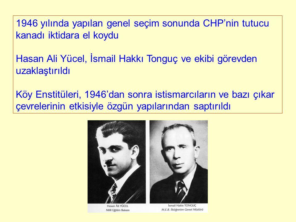 1946 yılında yapılan genel seçim sonunda CHP'nin tutucu kanadı iktidara el koydu Hasan Ali Yücel, İsmail Hakkı Tonguç ve ekibi görevden uzaklaştırıldı