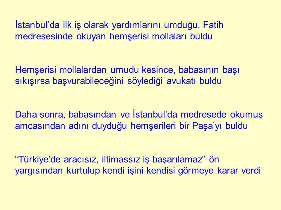 İstanbul'da ilk iş olarak yardımlarını umduğu, Fatih medresesinde okuyan hemşerisi mollaları buldu Hemşerisi mollalardan umudu kesince, babasının başı