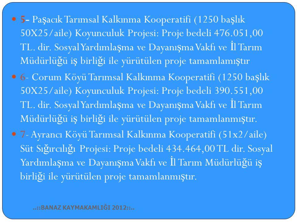 1- İ lçemiz Karacahisar, Küçükler, Yenice, Çö ğ ürlü, Ovacık, Alaba, Muratlı Köylerinde sosyal destek projesi olarak gebe düve projesi yapılmı ş 45 ai