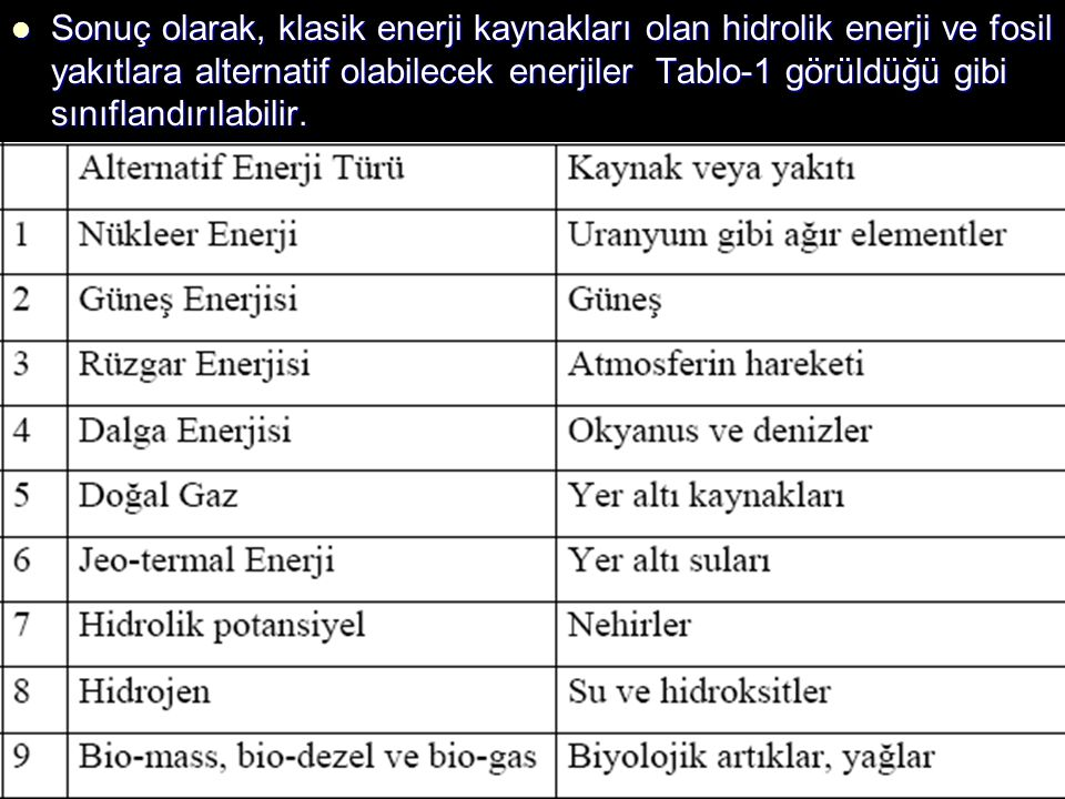 Tabloda verilen ve kaynak itibariyle insanlık hayatı açısından sonsuz sayılacak kadar çok olan enerjiler Yenilenebilir Enerji olarak isimlendirilmektedir.