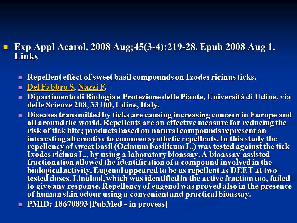 Doç Dr. Celalettin R. ÇELEBİ & Dr. Nalan AKYOL Exp Appl Acarol. 2008 Aug;45(3-4):219-28. Epub 2008 Aug 1. Links Exp Appl Acarol. 2008 Aug;45(3-4):219-