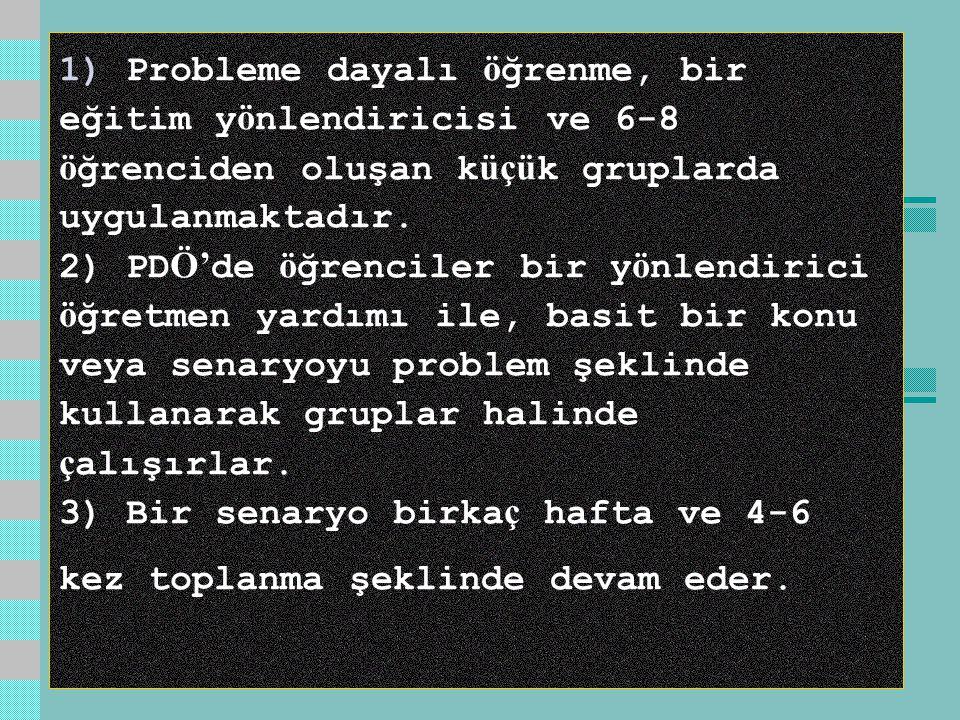 1) Probleme dayalı ö ğrenme, bir eğitim y ö nlendiricisi ve 6-8 ö ğrenciden oluşan k üçü k gruplarda uygulanmaktadır.
