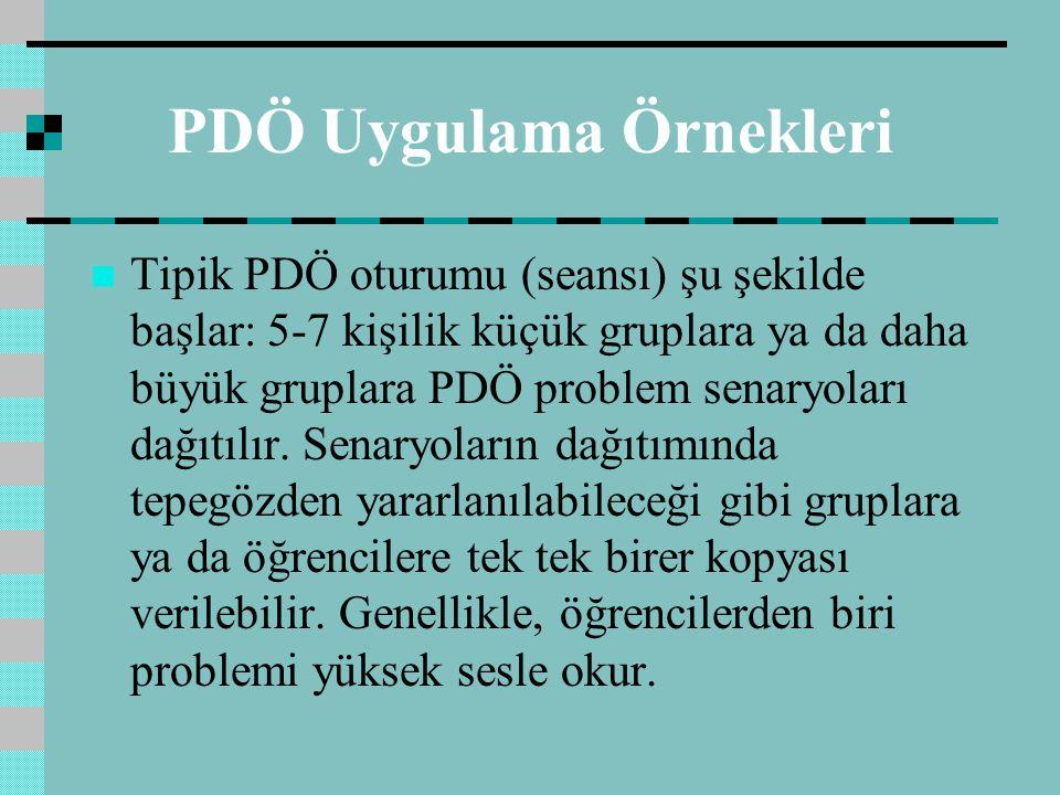 PDÖ Uygulama Örnekleri Tipik PDÖ oturumu (seansı) şu şekilde başlar: 5-7 kişilik küçük gruplara ya da daha büyük gruplara PDÖ problem senaryoları dağıtılır.